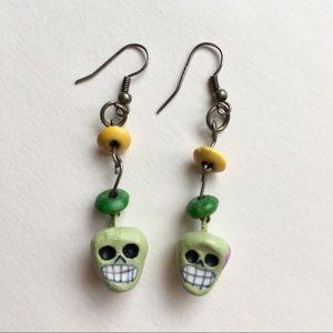 Skull Earrings Day of the Dead Boho Dangle